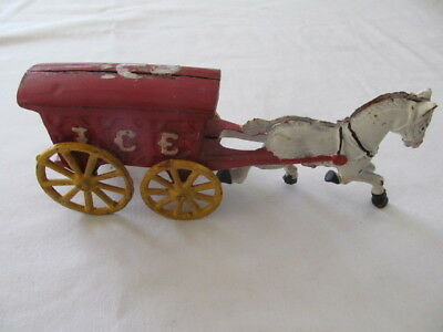Vintage Cast Iron Horse with Ice Wagon