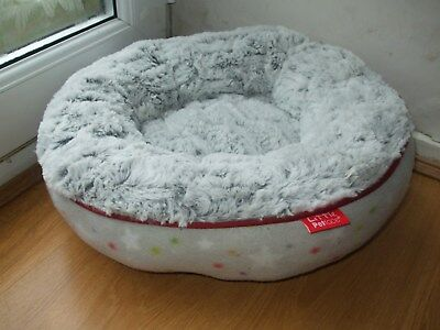LITTLE PETFACE COSY CAT BED SUPER SOFT FAUX FUR ANTI SLIP KITTEN BEDDING 45cm RO