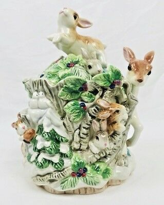 Fitz and Floyd Classics Peaceable Kingdom Rabbits & Fawn Winter Lidded Box