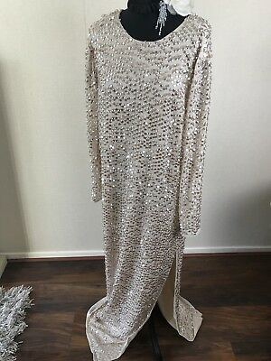Asos Sequin Maxi Vintage Kimono Red Carpet Gatsby Flapper Evening Dress Gown  16
