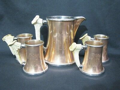 Early 20th Century Copper & Silverplate Pticher & Mug Set With Stag Handles
