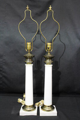 """Pair of 2 Vintage Hollywood Regency WHITE OPALINE Glass & Brass 32"""" Table Lamps"""