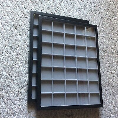 "Box (of 2) 12 x 16"" Display Cases (""Riker"" type) with Gray Dividers (35 Squares)"