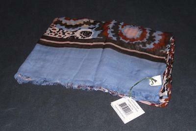 VERA BRADLEY Soft Fringed Scarf ~ MADISON GARDEN BLUSH Brown Blue Floral Print