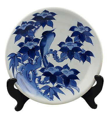 Beautiful 18th C Japanese Arita Charger w/ Bird & Flowers