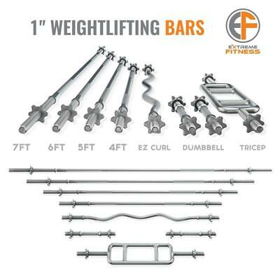 "Extreme Fitness® Barbell Weight Lifting Bar Straight Ez Tricep Dumbbell 1"" Bars"