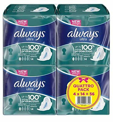 Always Ultra Normal Plus Sanitary Towels with Wings - 4X14 Serving 56 units