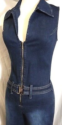 VTG Iconic Hottest Bell Bottom Blue Denim Jumpsuit V Cut Zip Front Wide Collar