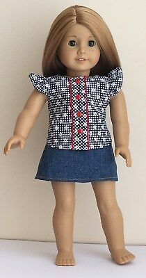 """Fits American Girl, Our Generation, Journey, 46cm 18"""" Doll Clothes Skirt, Blouse"""