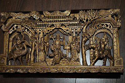 Rare Antique Chinese Wood Carved Panel 19th Century Gold Gilded Emperor