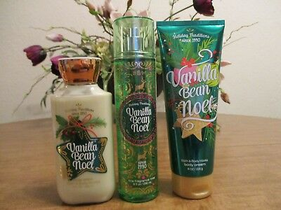 Bath And Body Works Vanilla Bean Noel Lotion, Mist, And Cream Lot Of 3