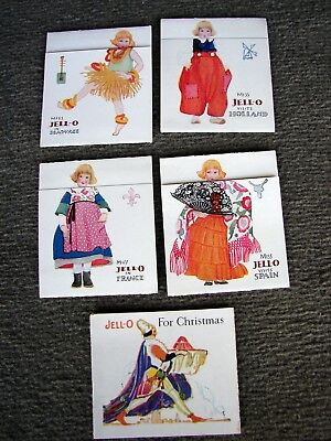5 Vintage Jell-0 Recipe Fold-Out Cards