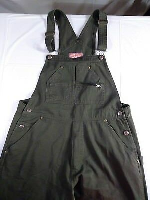 ORIGINAL THREADS women's Vintage Olive Green  Bib Overalls Large Long Pants