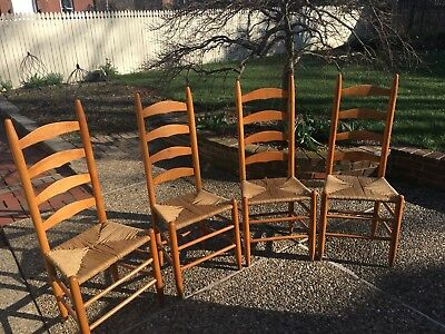 Set Of 4 Maple Ladder Back Chairs From 1950's