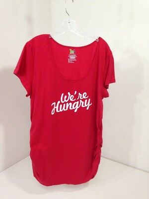 Kt Maternity Women's We're Hungry Maternity T Shirt Red Xxl Nwot