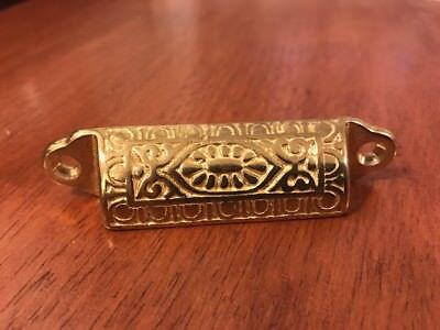 Solid Brass Bin Pull Antique Hardware Replica Victorian Vintage Style Eastlake