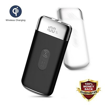 POWERNEWS 900000mAh Power Bank Qi Wireless Charging USB Portable Battery Charger