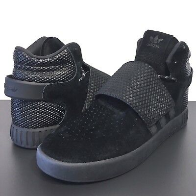 ADIDAS Mens Tubular Invader Strap Black Suede Hightop Sneakers BB1398 -MSRP $120