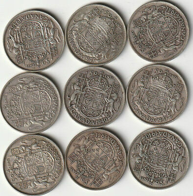 9 Canadian Silver 50-Cent Half Dollar Coins From The 1940's