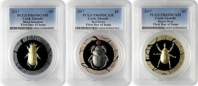 2017 $5 Cook Islands Scarab Selection 1 3-Coin Silver Proof Set PCGS PR69DCAM FD