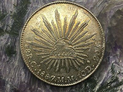 REPUBLIC OF MEXICO 8 REALES SILVER 1887 Ca MM CHIHUAHUA MINT