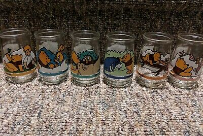 Full Set Vintage Lot of 6 Welch's Jelly Winnie the Pooh Glasses