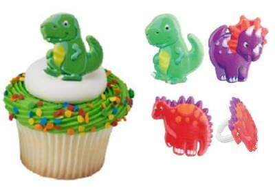 Dinosaur Cupcake Toppers Rings - 12 pcs Cake Toppers Birthday Party Dinosaurs