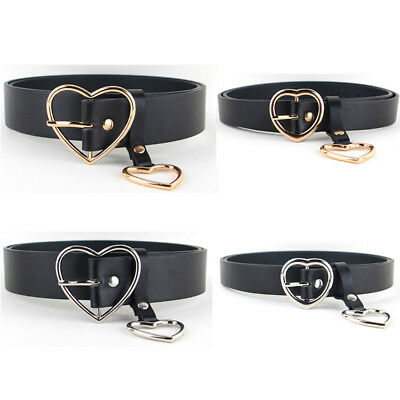 Women Ladies Gold Silver Heart Buckle Belt Leather Jeans Dress Corset Waist Band