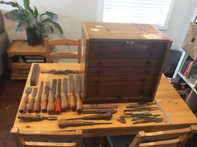 Deceased Estate Bulk Lot Precision Wood Working Tools; Chisels; Old Tool Box
