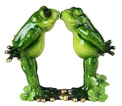 Green Frog Couple Pucker Up Kissing Home Decorative Figurine Animals Statue Gift