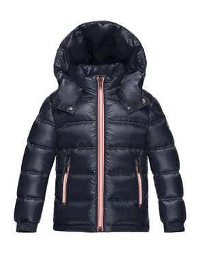 NEW MONCLER UNISEX KID GASTON NAVY DOWN QUILTED COAT SIZE 6 (116 cm) $625