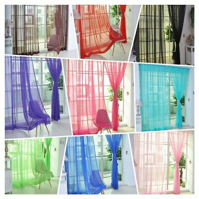 2Pcs Room Floral Tulle Voile Door Window Curtain Drape Panel Sheer Scarf Valance