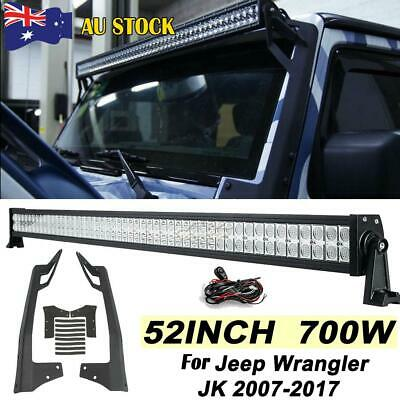 52inch 700W LED Work Light Bar + Mount Bracket Fits Jeep Wrangler JK 2007-2017