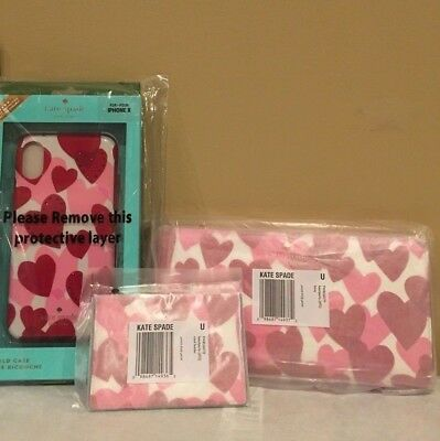 Kate Spade Yours Truly 3 Pc Bundle Zip Wallet, Card Holder, iPhone Case $278 NWT