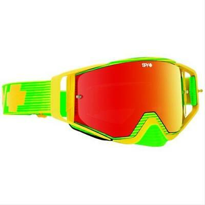 Genuine SPY+ Optic Ace Green/Yellow Adult MX Goggles w Red Spectra Lens