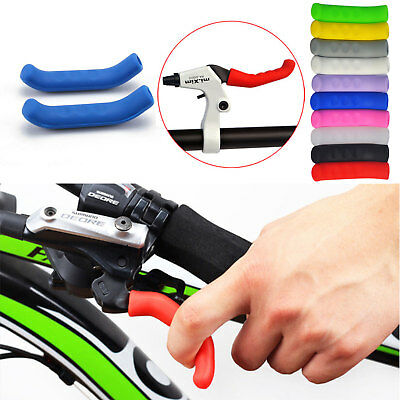 2X MTB Bike Bicycle Scooter HandleBar Grip Brake Lever Silicone Cover Protector