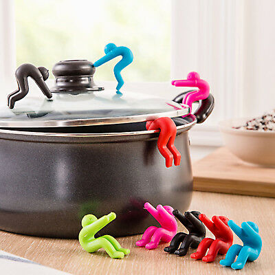 2Pcs Men Shaped Silicone Spoon Rest Pot Clip Anti-overflow Gadget Tool Bracket