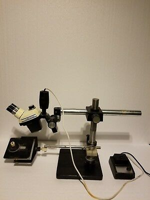 Cambridge Zoom4 Stereo Microscope Stand Sample Plate Light Source