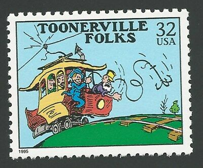 Toonerville Folks Trolley Car Fontaine Fox Classic Comic Strip US Stamp MINT NH!
