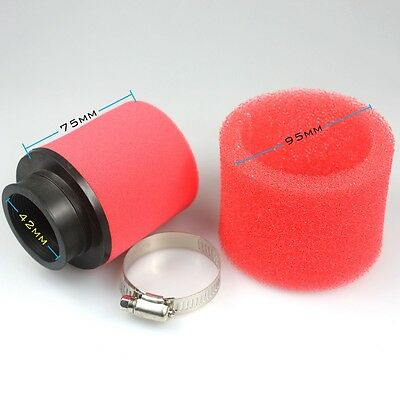 Red Air Filter 42mm Cleaner 125 Moped Scooter 140cc 200cc CRF KLX Pit Dirt Bike