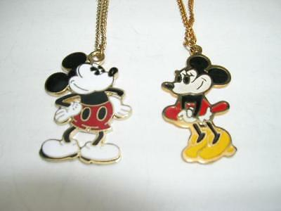 Walt Disney Mickey and Minnie Mouse Enamel pendants with chains great shape