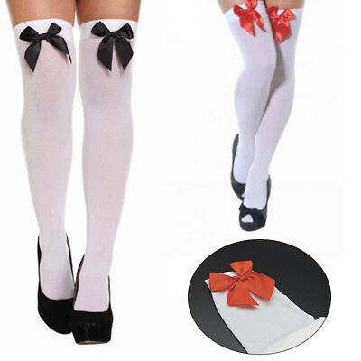 Ladies Over The Knee Hold Up Stockings Socks Thigh High With Bows Fancy Dress AU