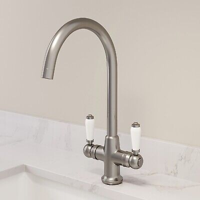 Traditional Mono Kitchen Sink Mixer Tap Twin Ceramic Lever Brushed Metal Faucet