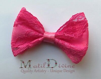 Baby Girl Toddler NonSlip Hair Clip 4.5cm Alligator Clip Lace Large Bow Hot Pink
