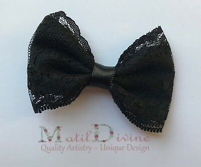 Baby Girl Toddler Non Slip Hair Clip 4.5cm Alligator Clip Lace Large Bow Black