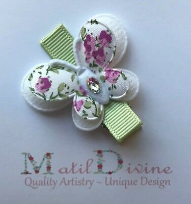 Baby Toddler Girl Non Slip Hair Clip Bow 4.5 cm Alligator Butterfly Green Mauve