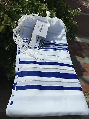 "Kosher Tallit Talit Prayer Shawl 55""X73"" blue/silver Adult Size # 60 From Israel"