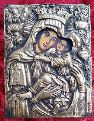 Old Orthodox 19th century silver, hand-painted icon of the Virgin Mary