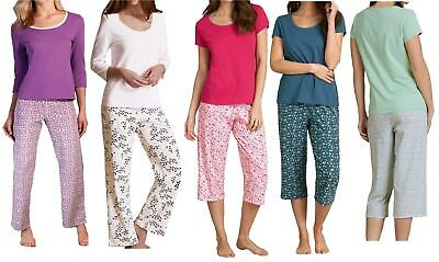 Ladies Women M&S Pure 100% Cotton Pyjama Set Pull on top and bottoms PJ