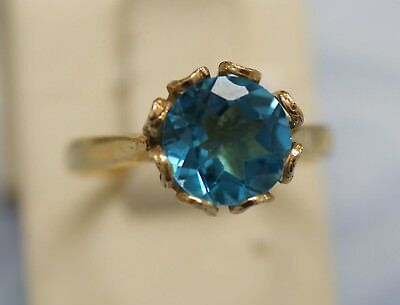 Vintage 14K Yellow Golden Ring With London Blue Topaz. Signed. Size 7